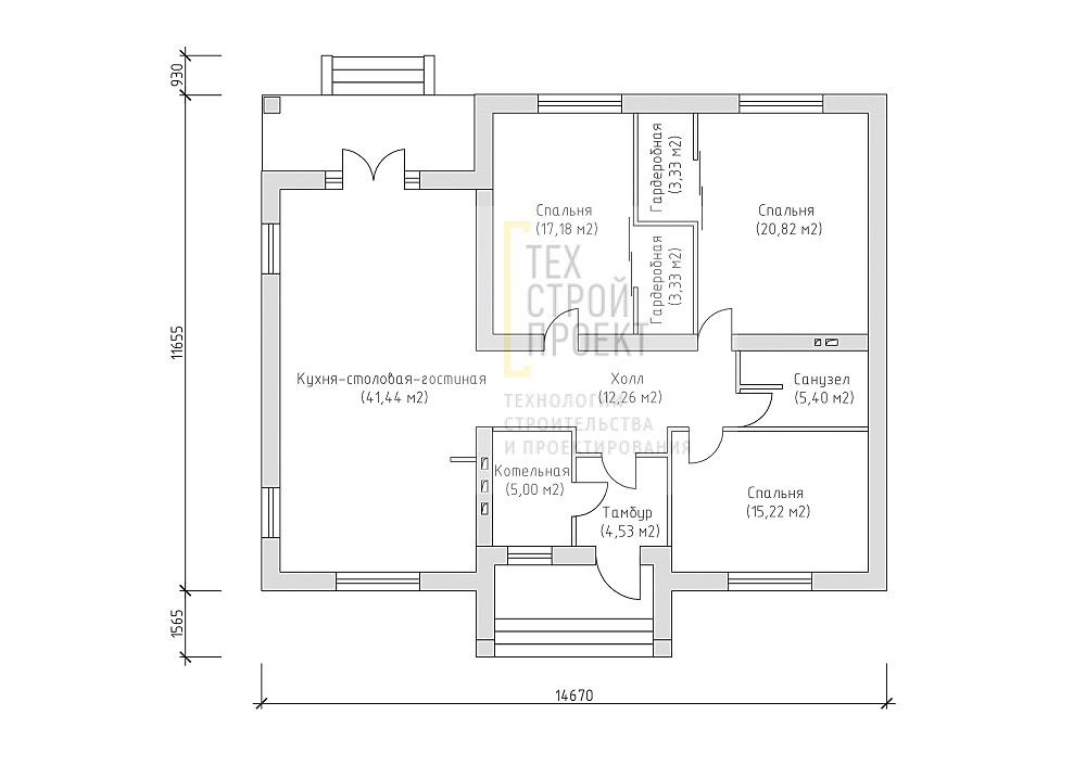 Проект компактного одноэтажного дома план