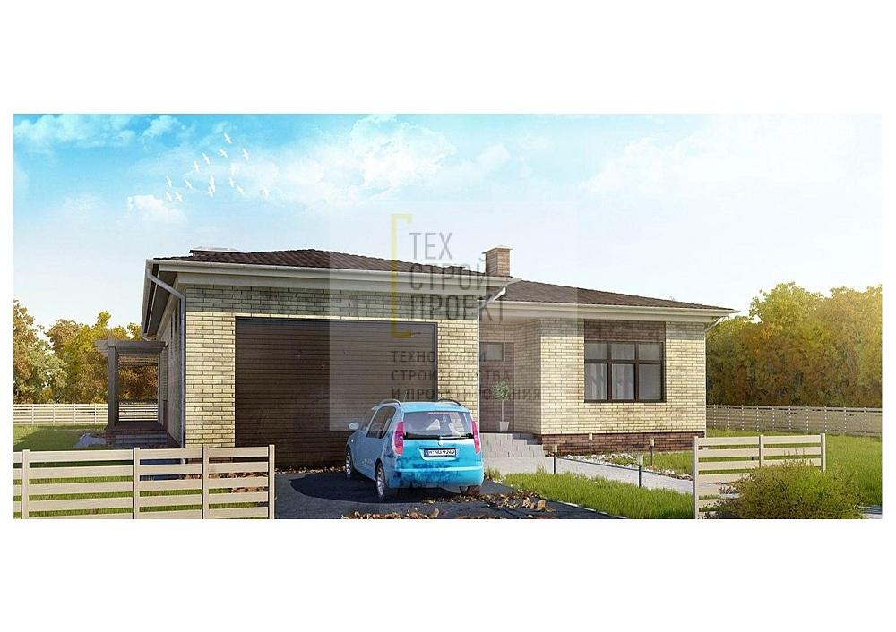 Проект большого одноэтажного дома с гаражом фасад