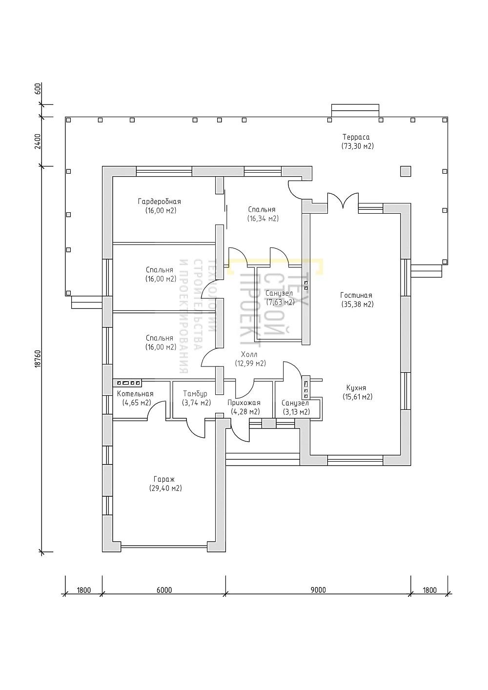 Проект большого одноэтажного дома с гаражом план