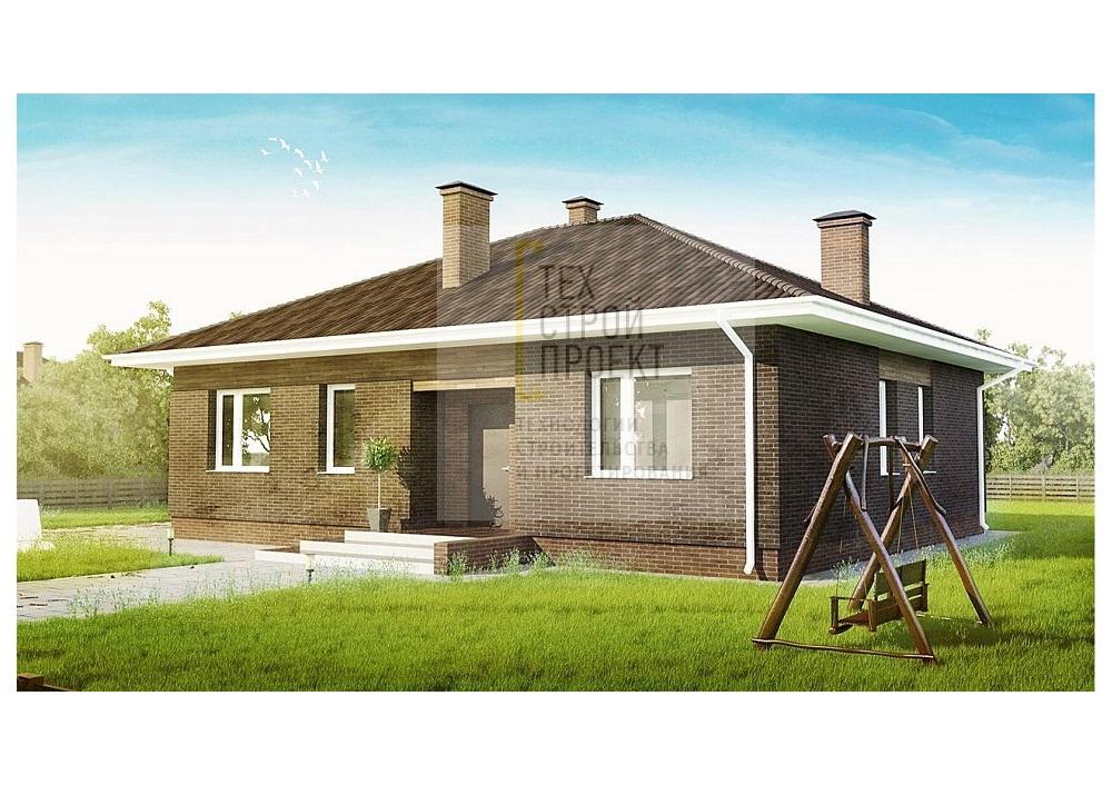 Одноэтажный дом с комбинированной отделкой фасад