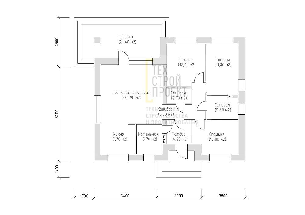 Одноэтажный дом с комбинированной отделкой план