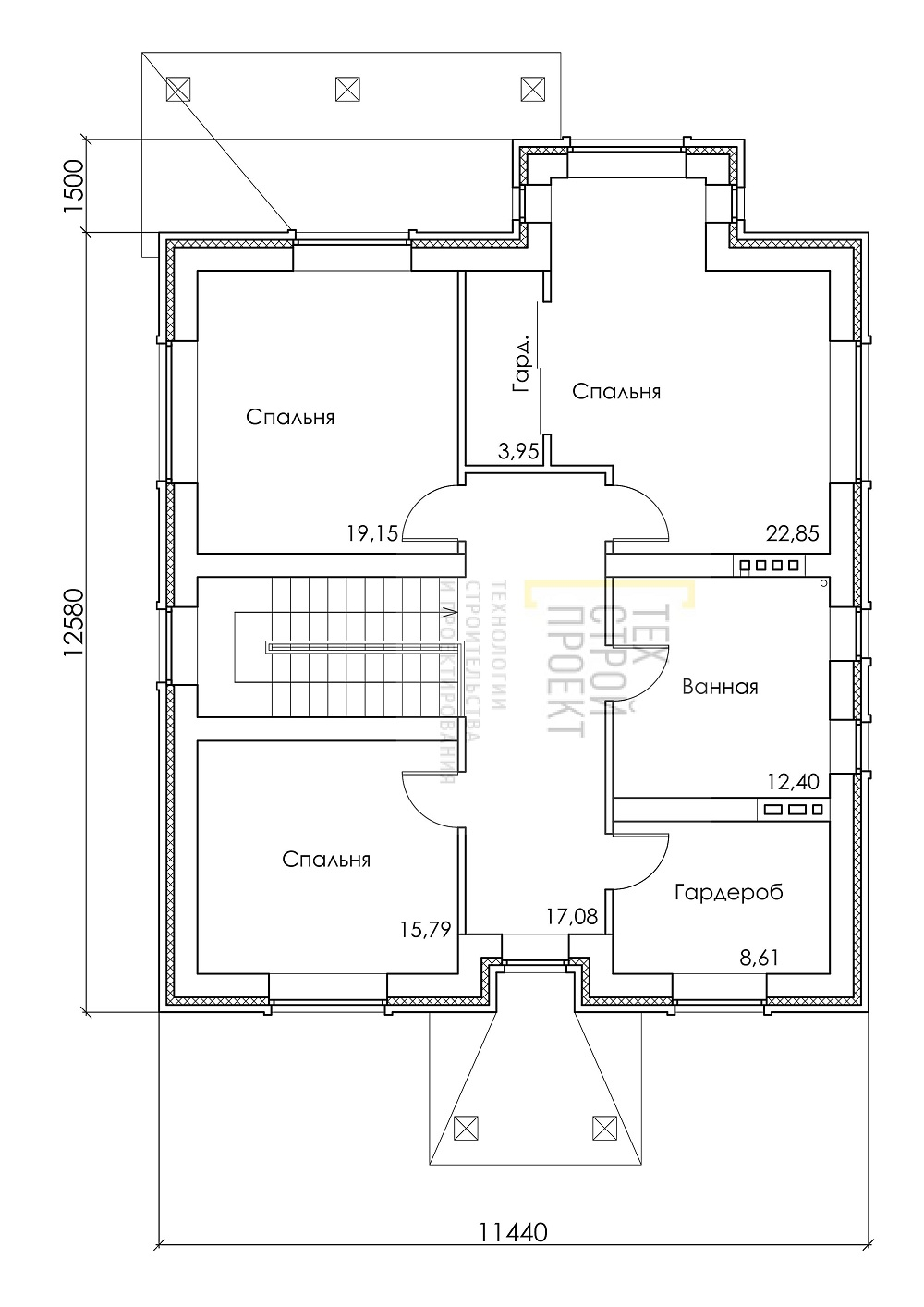 Проект большого двухэтажного дома  план