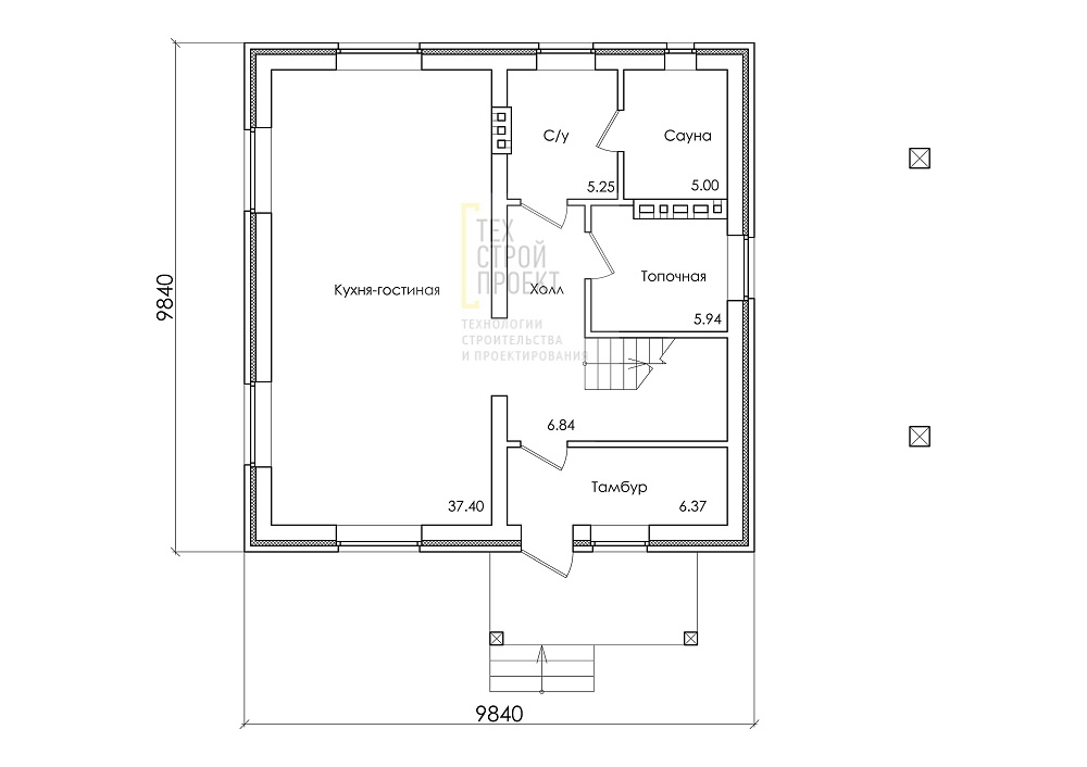Компактный дом с мансардным этажом план