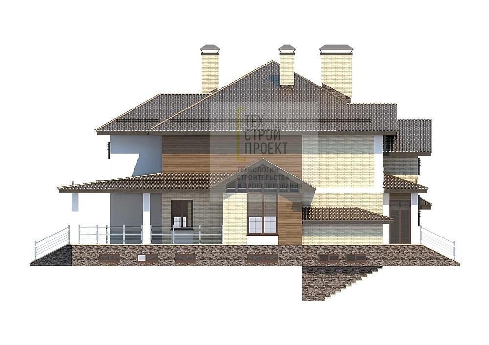 Проект особняка в трех уровнях фасад