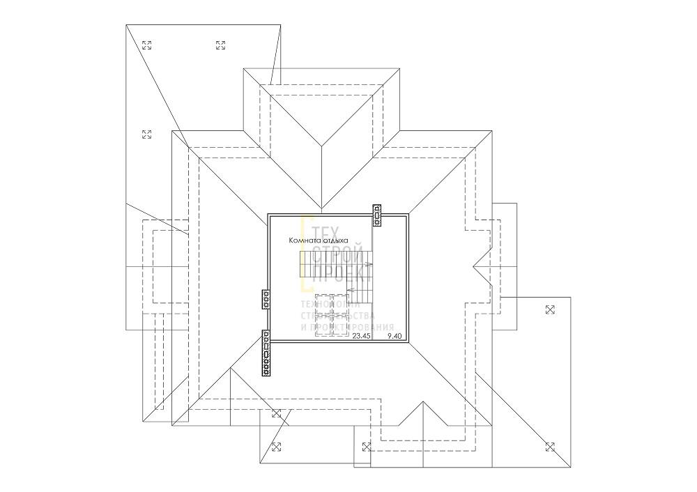 Проект особняка в трех уровнях план
