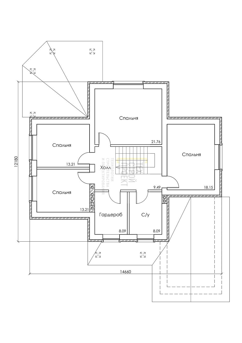 Двухэтажный дом для загородного проживания план