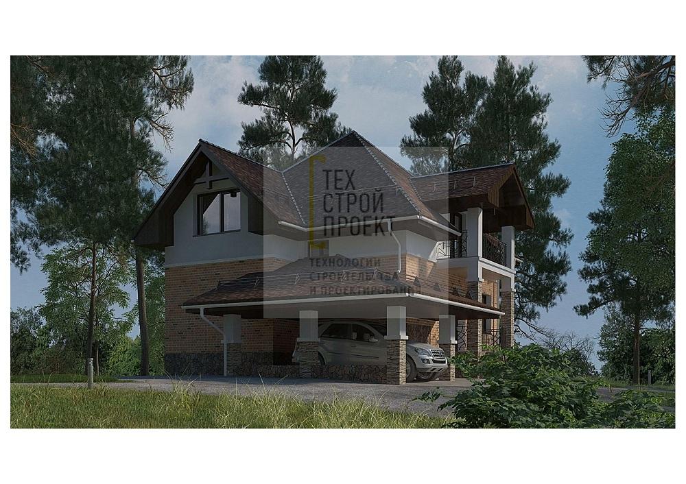 Проект большого дома с мансардным этажом фасад