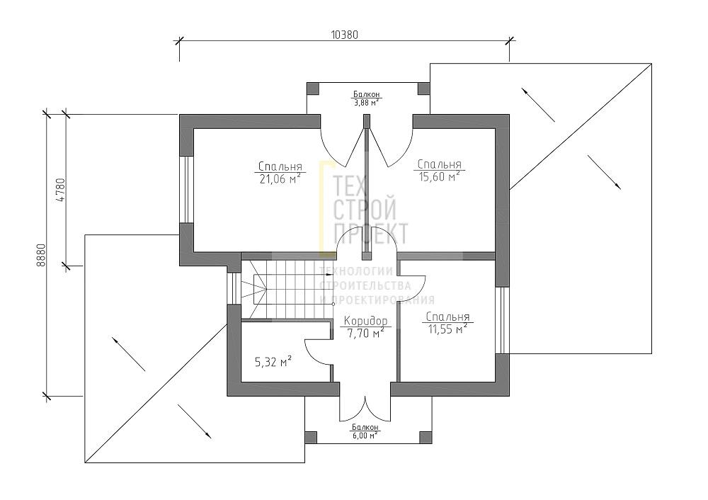 Проект большого дома с мансардным этажом план