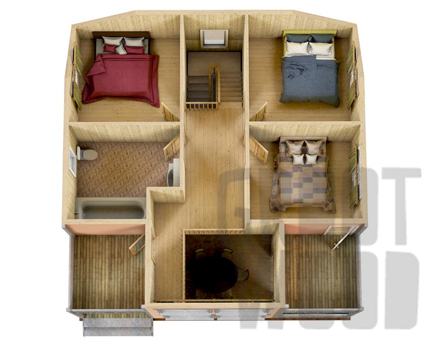 Полутораэтажный дом 9 х 9 м, 162 кв. м. план