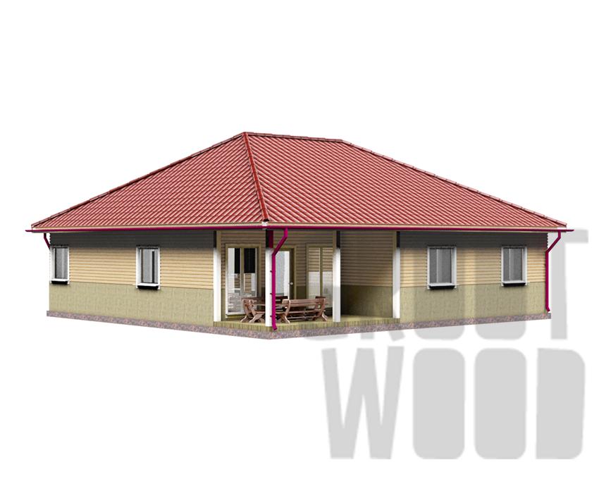 Одноэтажный дом 12 х 12 м, 144 кв. м. фасад