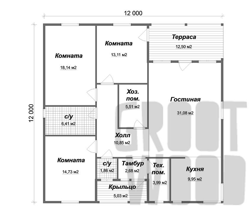 Одноэтажный дом 12 х 12 м, 144 кв. м. план