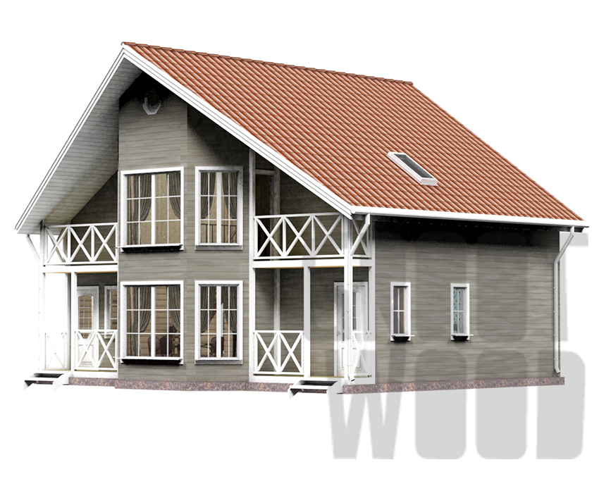 Полутораэтажный дом 10 х 7 м, 178 кв. м. фасад