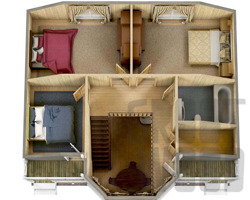 Полутораэтажный дом 10 х 7 м, 178 кв. м. план
