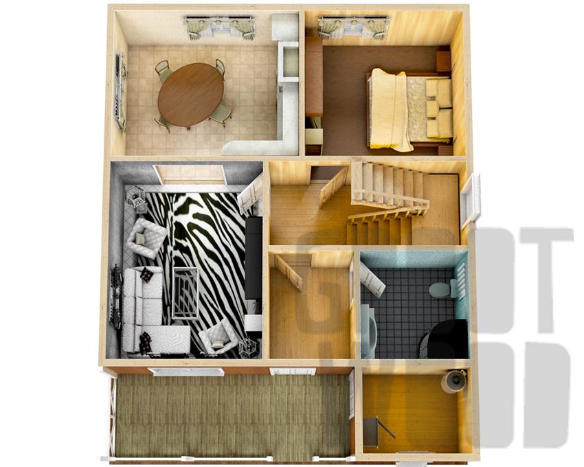Дом с мансардным этажом 10 х 8 м, 145 кв. м. план