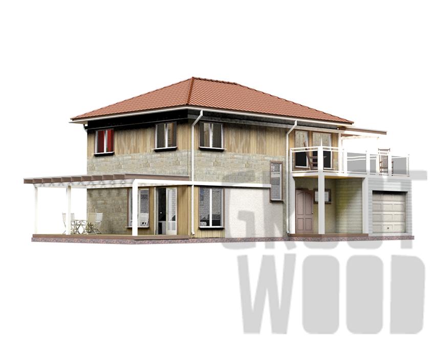 Двухэтажный дом 10 х 7 м, 232 кв. м. с гаражом фасад
