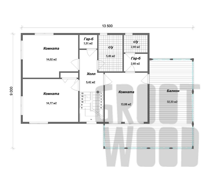 Двухэтажный дом 10 х 7 м, 232 кв. м. с гаражом план