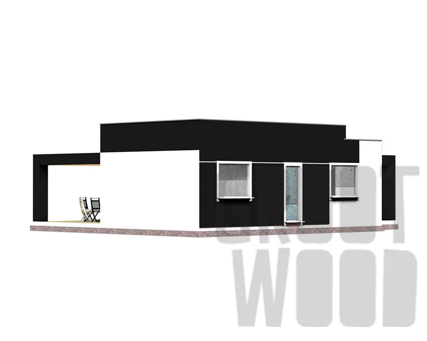 Одноэтажный современный дом 11 х 9 м, 97 кв. м.  фасад