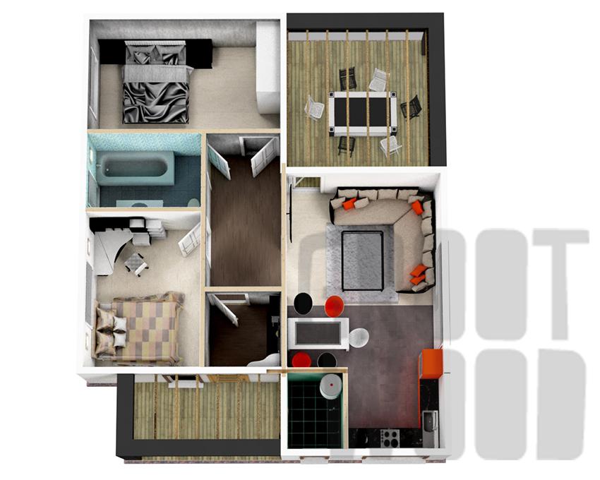 Одноэтажный современный дом 11 х 9 м, 97 кв. м.  план
