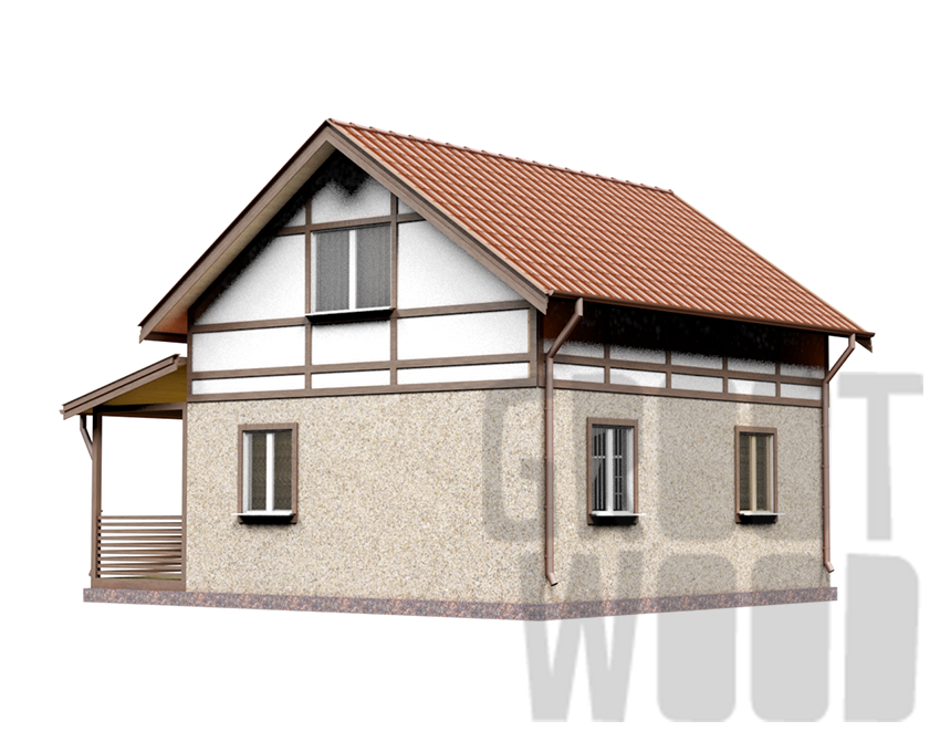 Полутораэтажный дом 7 х 6 м, 101 кв. м. фасад