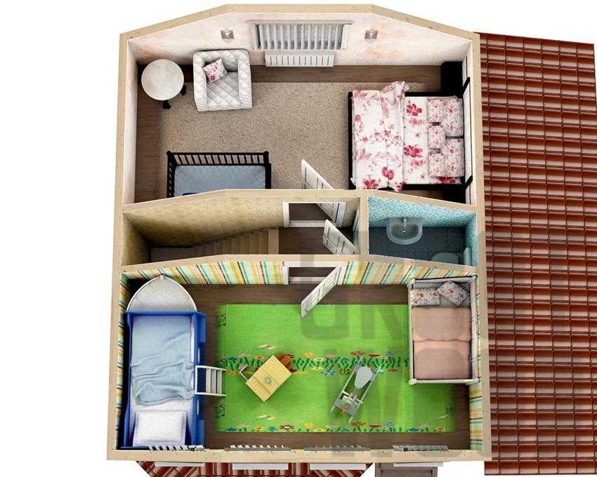 Полутораэтажный дом 7 х 6 м, 101 кв. м. план