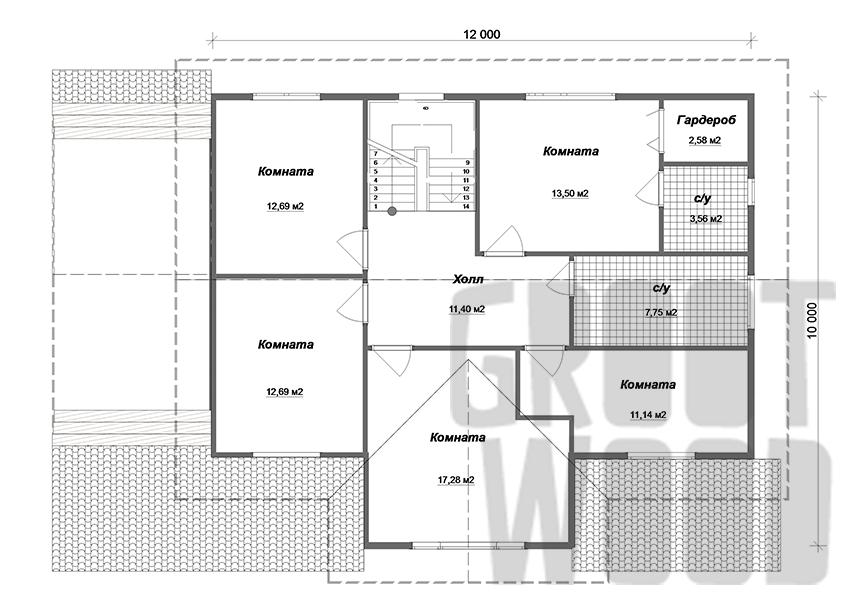 Двухэтажный дом 15 х 10 м, 255 кв. м. план