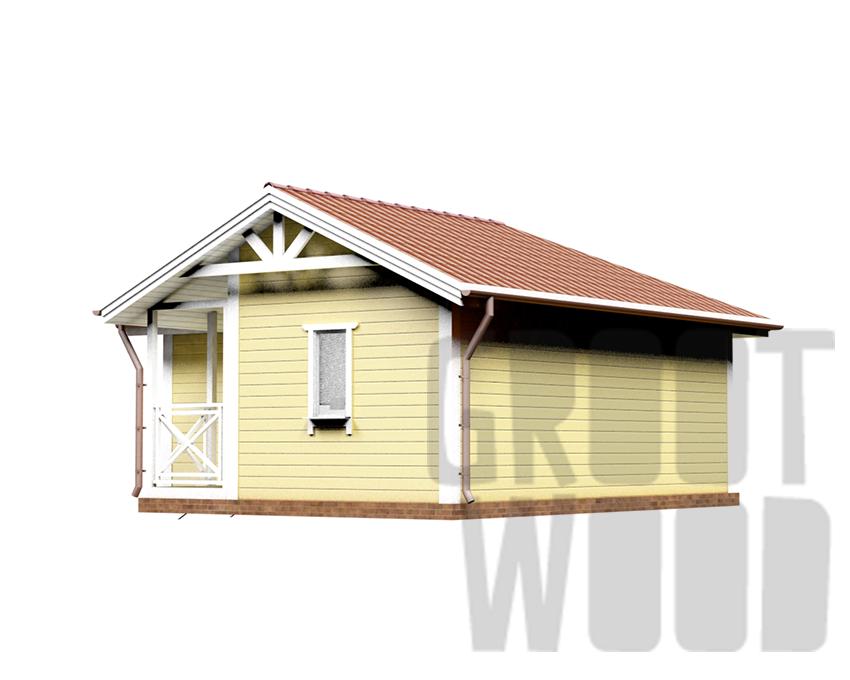 Одноэтажный дом 7,5 х 7 м, 48 кв. м. фасад
