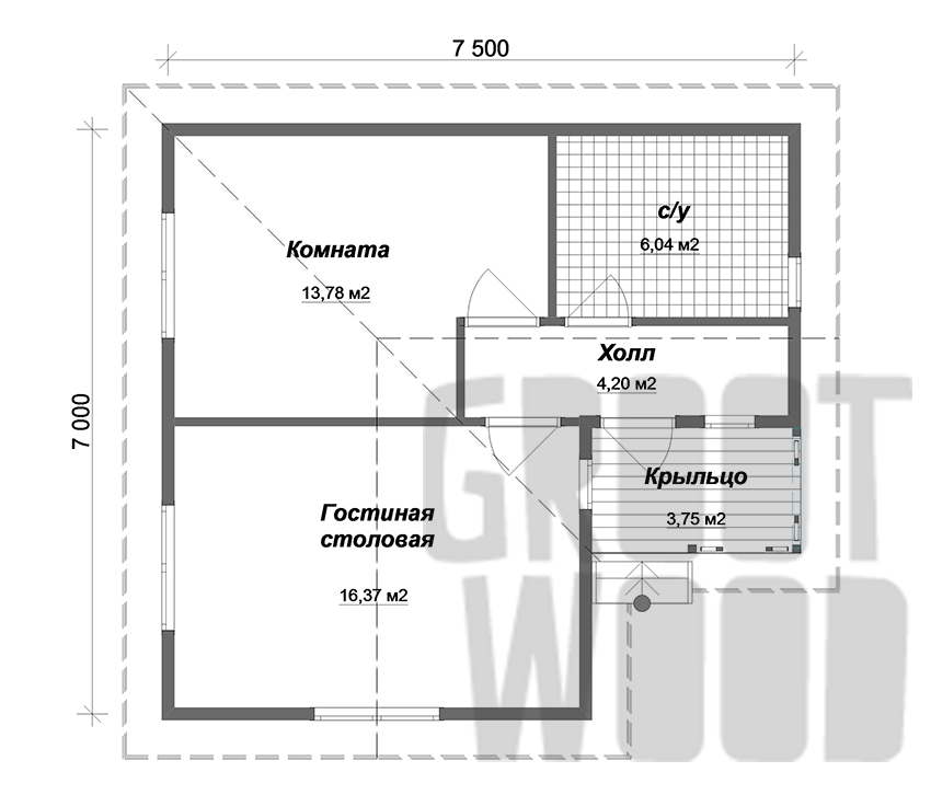 Одноэтажный дом 7,5 х 7 м, 48 кв. м. план