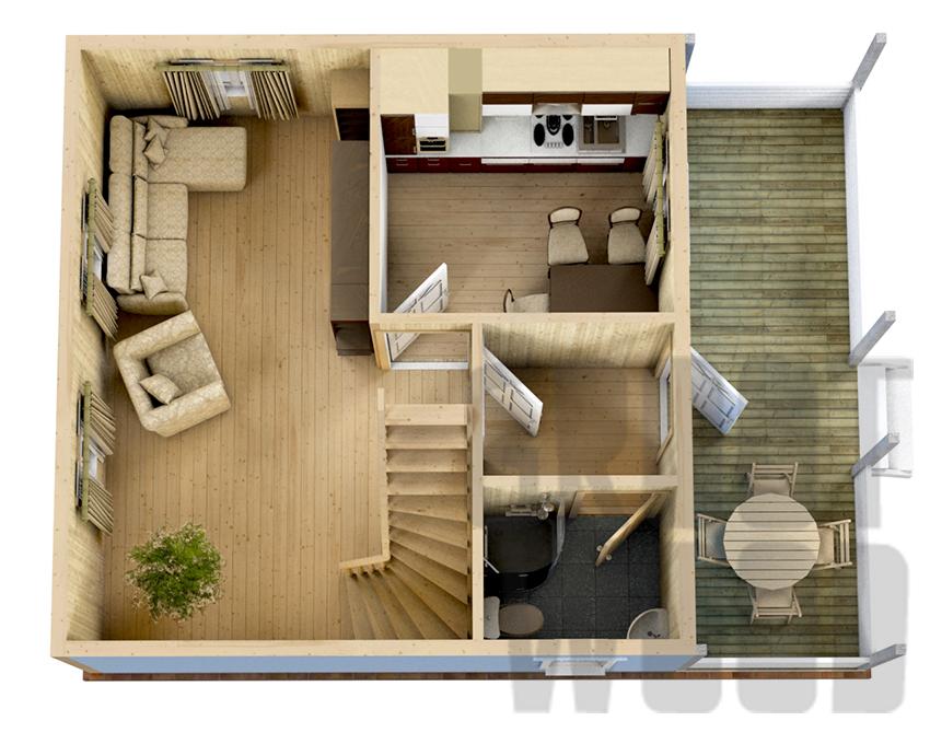 Дом с мансардным этажом 8 х 6 м, 86 кв. м. план