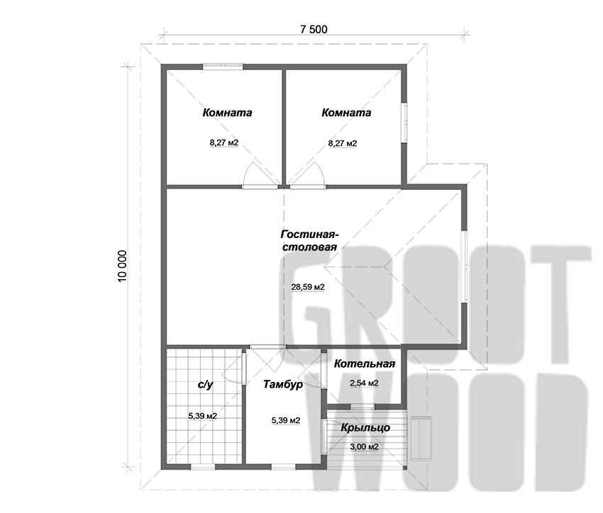 Одноэтажный дом 10 х 6 м, 66 кв. м. план
