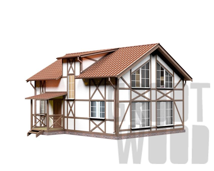 Полутораэтажный дом 9 х 7 м, 134 кв. м. фасад