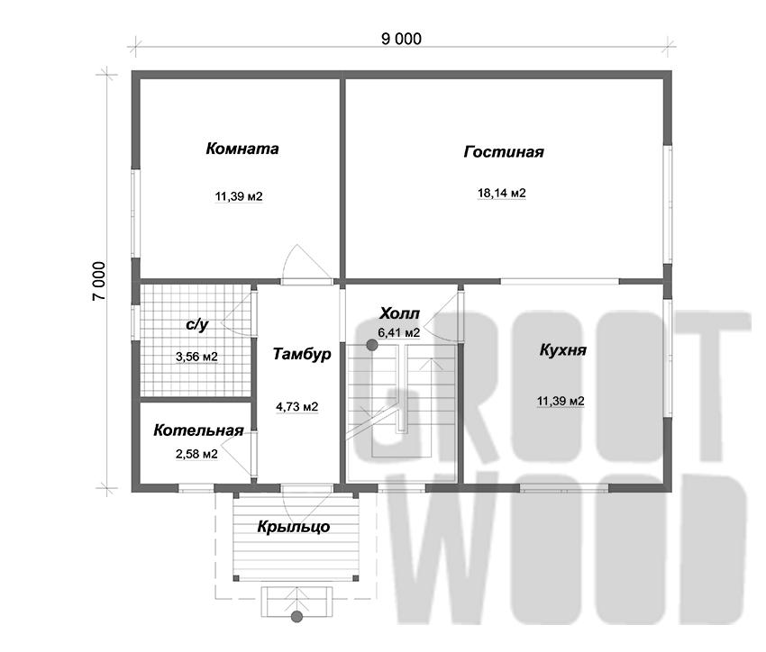 Полутораэтажный дом 9 х 7 м, 134 кв. м. план