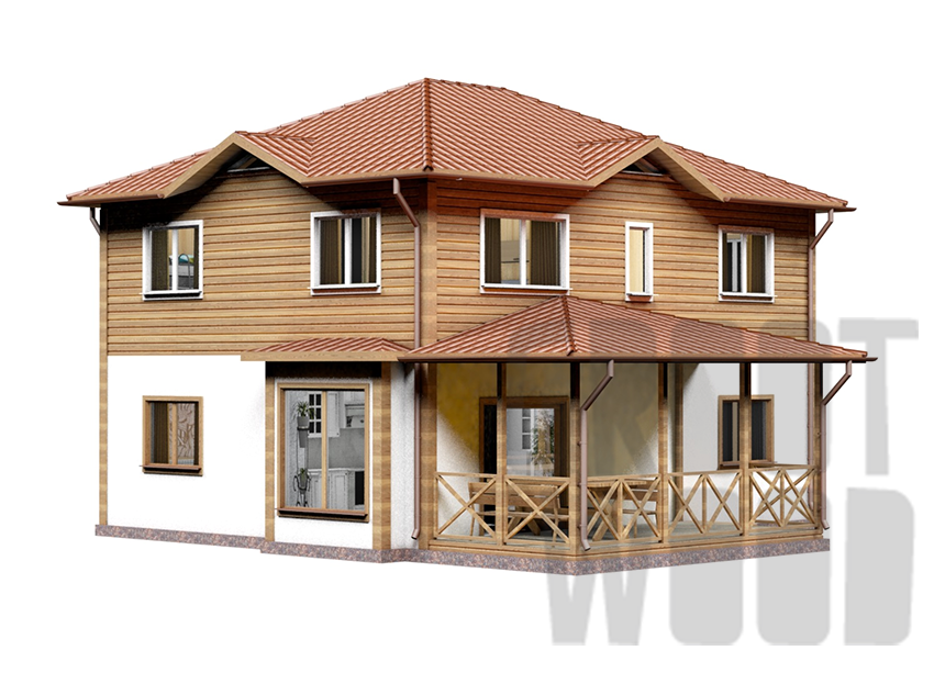 Двухэтажный дом 10 х 8 м, 182 кв. м. фасад