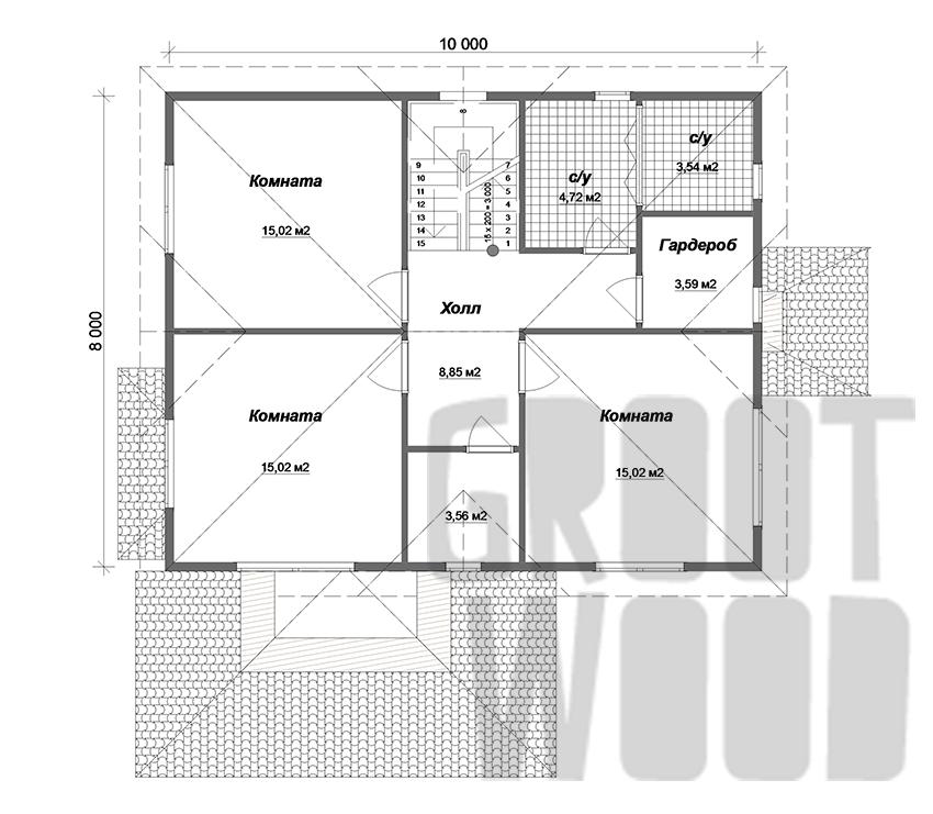 Двухэтажный дом 10 х 8 м, 182 кв. м. план