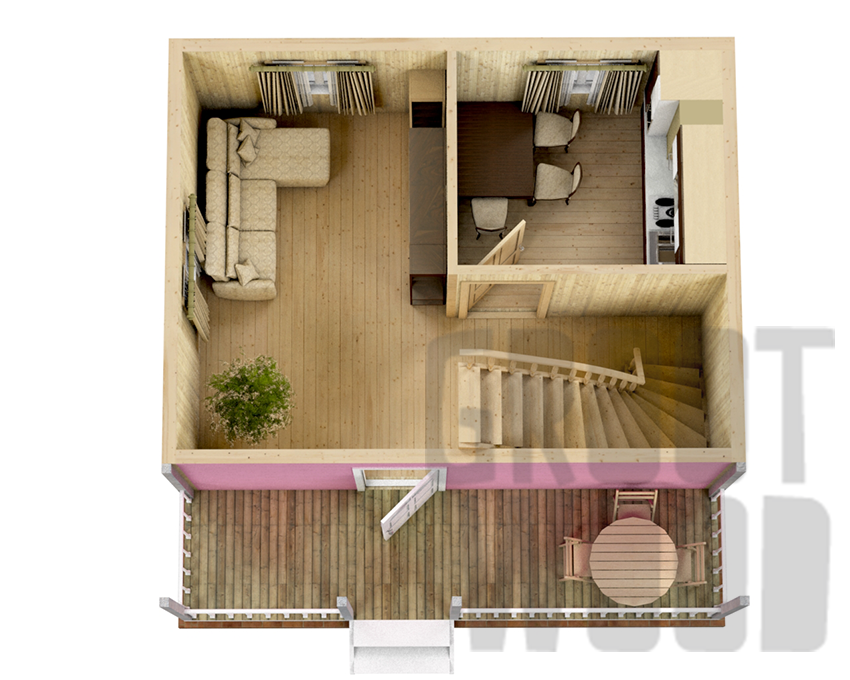 Дом с мансардным этажом 6 х 6 м, 63 кв. м. план