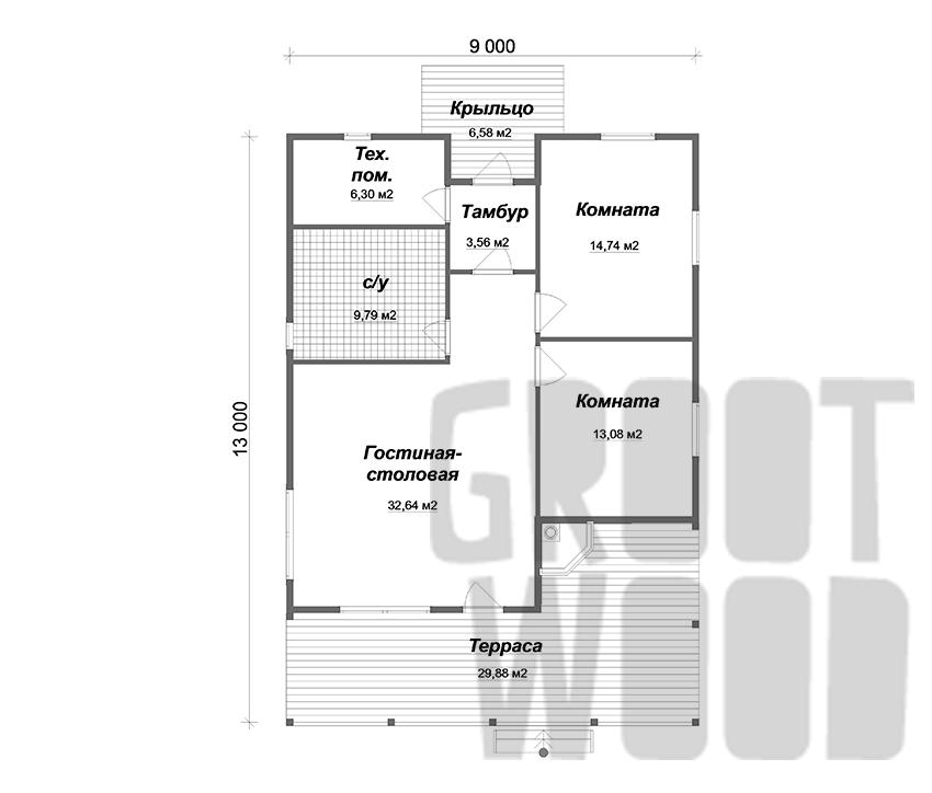 Одноэтажный дом 13 х 9 м, 117 кв. м. план
