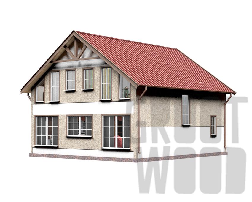 Полутораэтажный дом 9 х 8 м, 152 кв. м. фасад