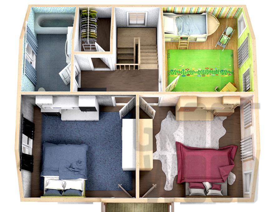 Полутораэтажный дом 9 х 8 м, 152 кв. м. план