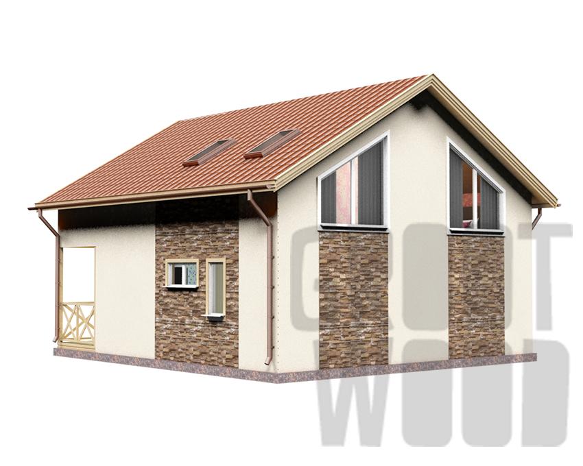 Полутораэтажный дом 9 х 8 м, 144 кв. м. фасад