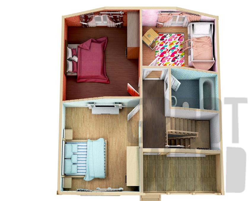 Полутораэтажный дом 9 х 8 м, 144 кв. м. план