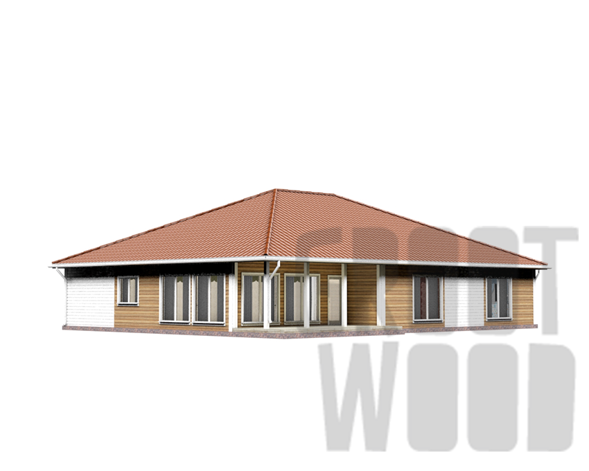 Одноэтажный дом 18 х 14 м, 282 кв. м. с гаражом фасад