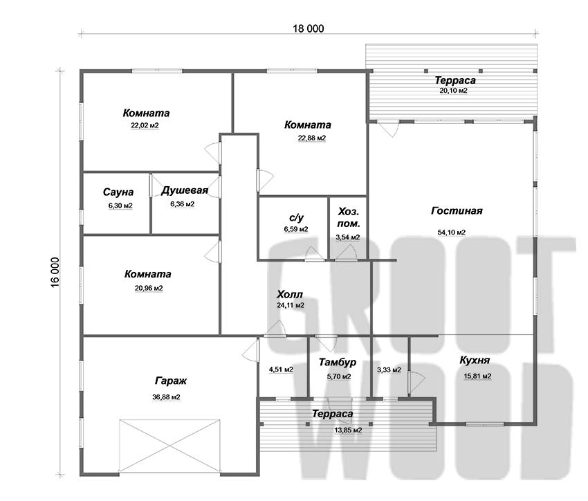 Одноэтажный дом 18 х 14 м, 282 кв. м. с гаражом план