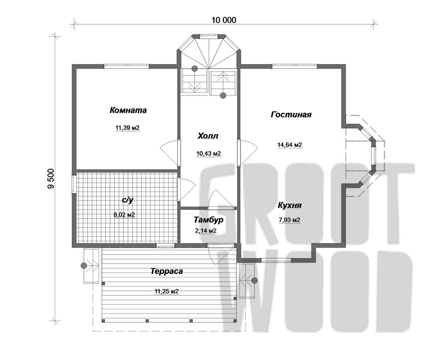 Полутораэтажный дом 9 х 6 м, 127 кв. м. план