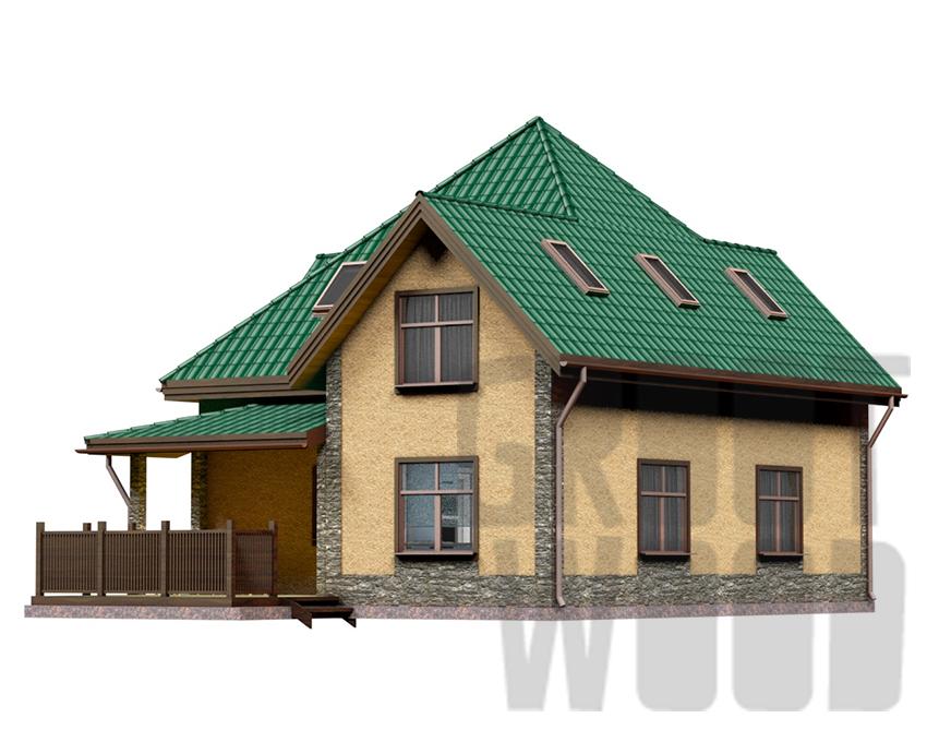 Полутораэтажный дом 10 х 8 м, 181 кв. м. фасад