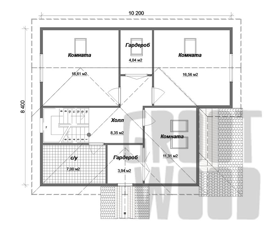 Полутораэтажный дом 10 х 8 м, 181 кв. м. план