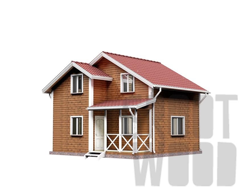 Полутораэтажный дом 7 х 7 м, 93 кв. м. фасад