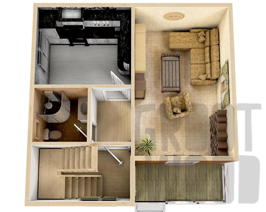 Полутораэтажный дом 7 х 7 м, 93 кв. м. план