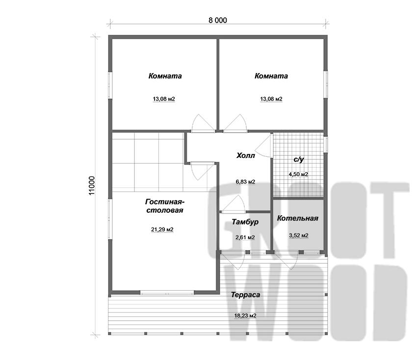 Одноэтажный дом 11 х 8 м, 84 кв. м. план