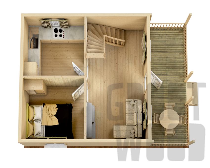 Дом с мансардным этажом 8 х 6 м, 84 кв. м. план