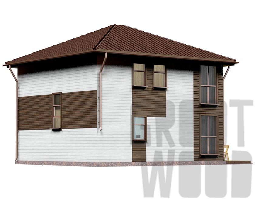 Двухэтажный дом 8 х 7,5 м, 139 кв. м. фасад