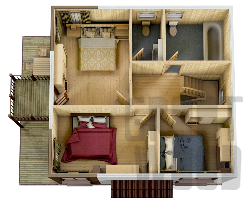 Двухэтажный дом 8 х 7,5 м, 139 кв. м. план
